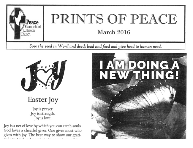 Peace Lutheran Church Des Moines Iowa | March 2016 Newsletter 650x500