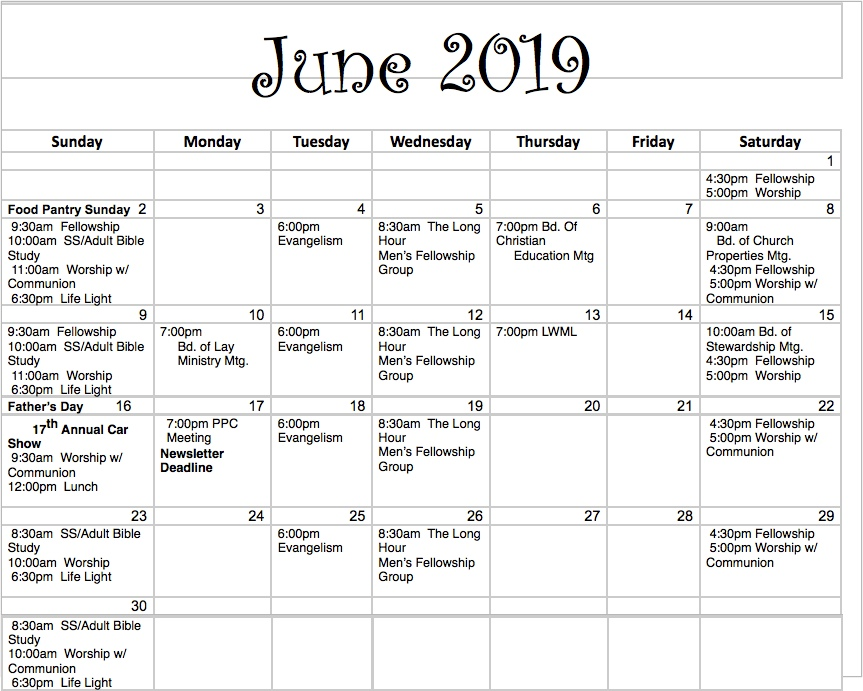 Peace Lutheran Church Des Moines Iowa June 2019 Calendar